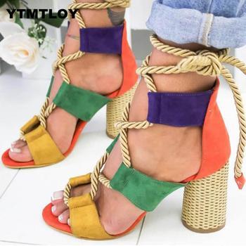 Mulheres bombas de moda salto alto rendas sandálias para sapatos de verão gladiador grosso chaussures femme saltos quadrados nó corda