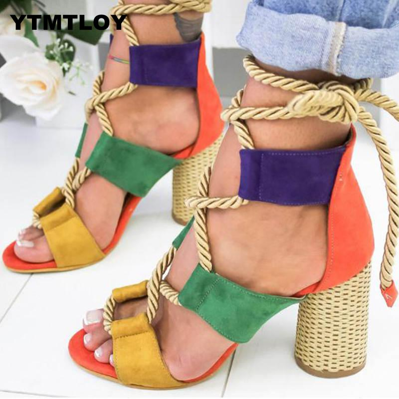 Women Pumps Fashion Heels Lace Up High Sandals For Summer Shoes Gladiator Thick Chaussures Femme  Square Heels Knot Rope