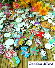 Cartoons background assorted holes animals buttons sewing scrapbooking mix random wood