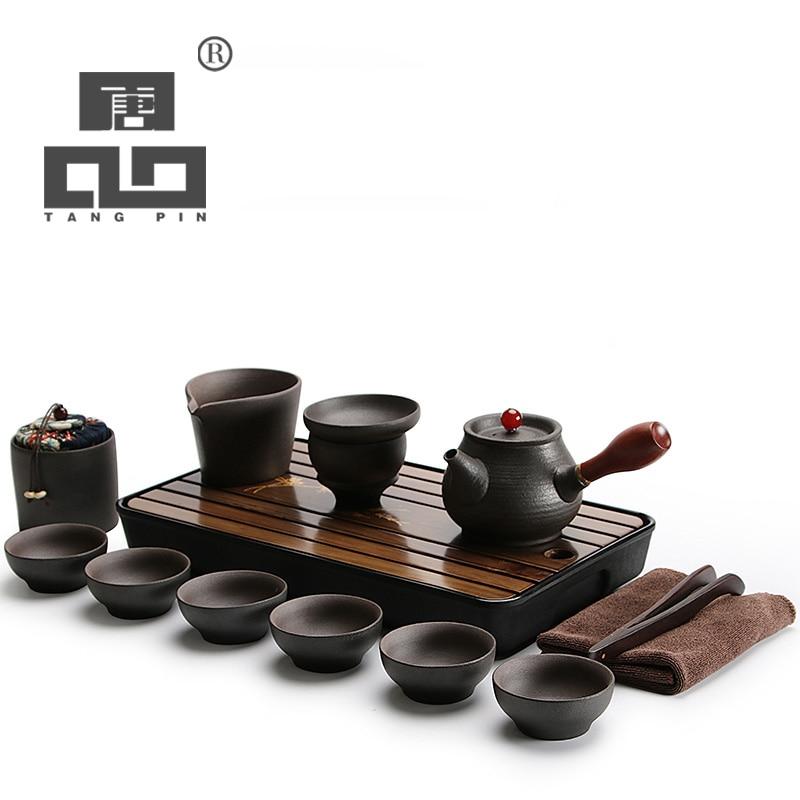 Tangpin Black Crockery Japanese Ceramic Teapot Kettle Tea
