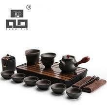TANGPIN black crockery japanese ceramic teapot kettle gaiwan tea cup for puer pot set drinkware