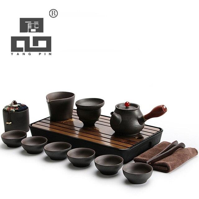 Tangpin Black Crockery Anese Ceramic Teapot Kettle Tea Cup For Puer Pot Set