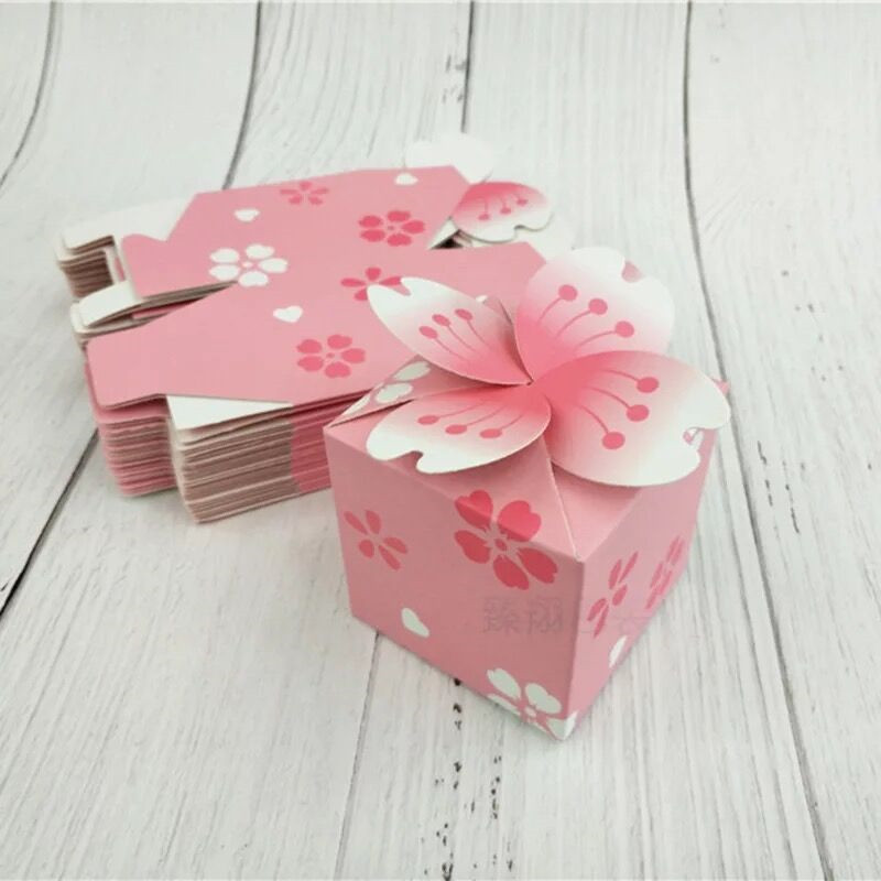 10pcs Japanese Romantic Sakura Candy Box Pink Flower Cherry Blossoms Wedding Gift Decoration Sugar Chocolate Packaging Box