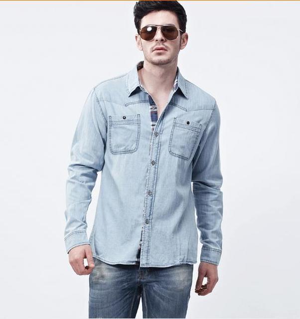 469d0f87a16 New Man Denim Dress Shirts Brand Design Men s Cowboy shirt Casual .