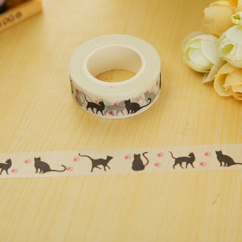 1.5cm*10m Hallowmas Cat Washi Tape DIY Decoration Scrapbooking Planner Masking Tape Adhesive Tape Kawaii Stationery