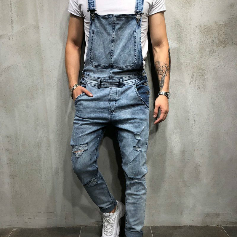2019 Spring men's Denim Jumpsuits worn men's Skinny Biker jeans Kanye West Fashion Ripped Rompers Pant A037
