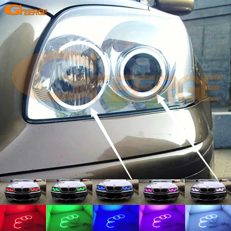 For Toyota Avensis T25 2003 2004 2005 Excellent Multi-Color Ultra bright RGB LED Angel Eyes kit Halo Rings for toyota wish 2003 2004 2005 excellent angel eyes multi color ultrabright rgb led angel eyes kit halo rings