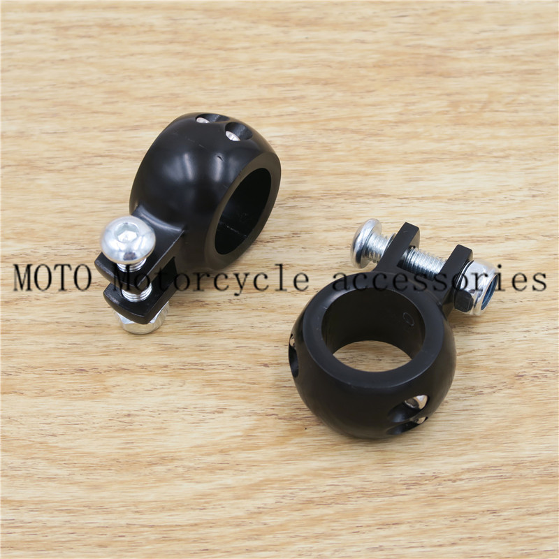 Black Chrome 32mm Crash Bar Engine Guard Foot Peg Clamps Mounts CNC Billet For Honda For