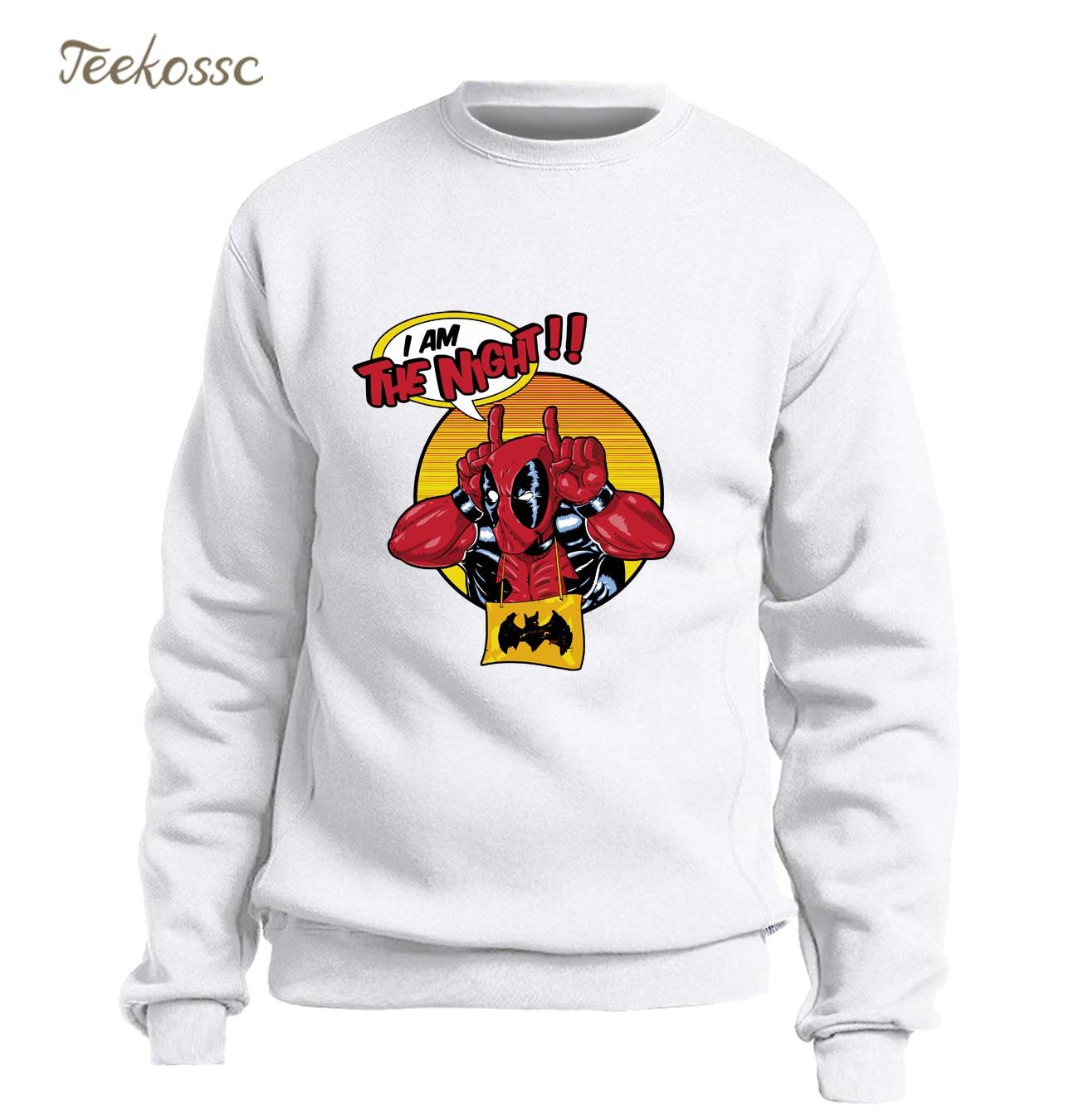 I Am The Night Hoodie Men Super Hero Deadpool Sweatshirt Funny Print White Sweatshirts 2018 Winter Autumn Dead Pool Sportswear