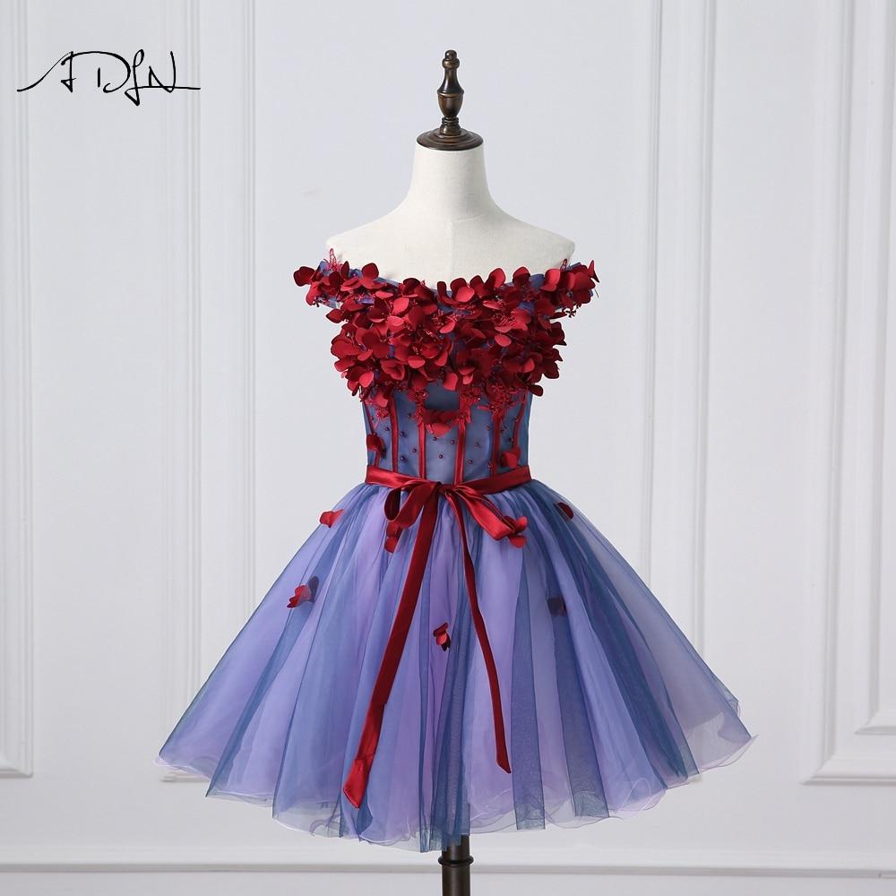ADLN Off the shoulder A-line Cocktail Dresses Tulle Floral Short ...