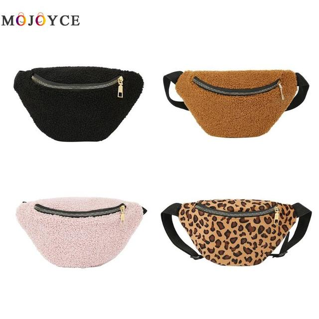 Women Girls Waist Pack Lamb Wool Chest Casual Belt Bag Female Fanny Pack Bum Pouch