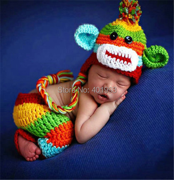 7bf32becb18e Newborn baby monkey hat baby hat and pants photography props multi ...