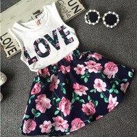 Childrens Clothing 2017 New Summer Girls Letter Love Flower Vest Short Skirt Set Kids Clothes Suit