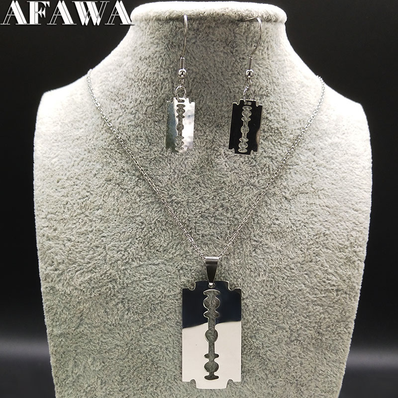 2021 Fashion Blade Stainless Steel Necklace Keychains Jewelry Set for Men Silver Color Set Jewelry llaveros de acero 178619