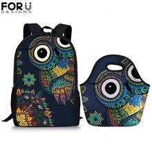 FORUDESIGNS Children School Bags Sets for Girls Boys Owl Printing Teenager Simple Primary Backpacks Students Satchel 2019