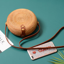 2019 Round Straw Bags Women Summer Rattan Bag Handmade Woven Beach Cross Body Bag Circle Bohemia Handbag Bali Bolsa Feminina(China)