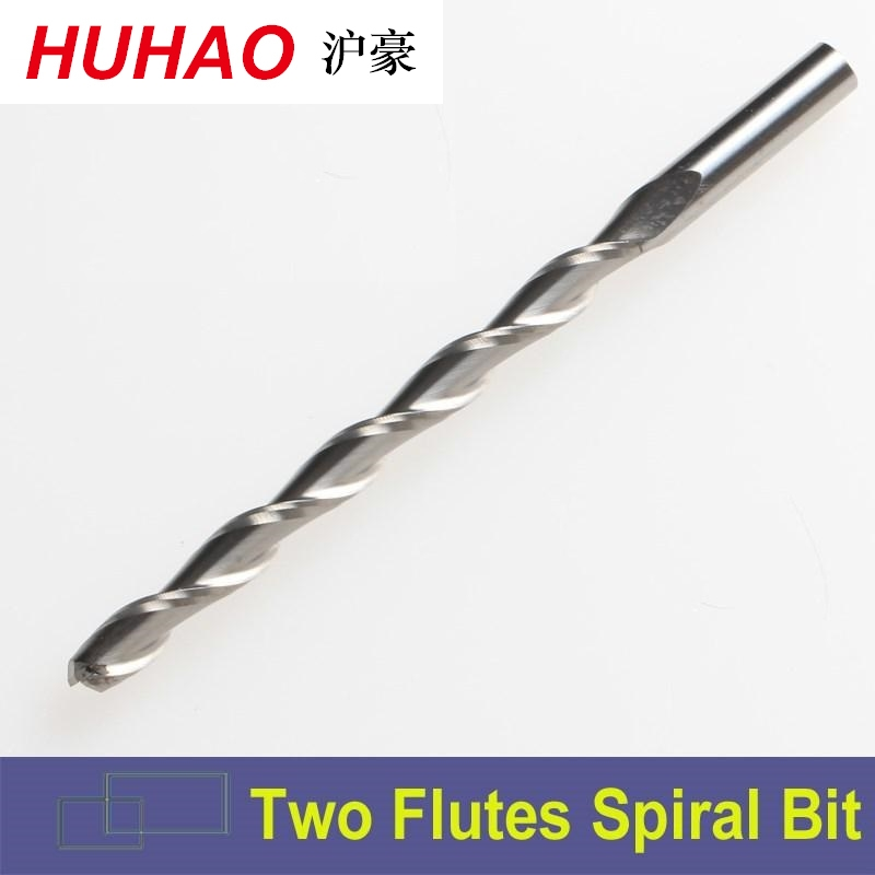 HUHAO 3.175mm SHK Carbide CNC Router Bits Two Flutes Spiral End Mills Double Flutes Milling Cutter Spiral PVC Cutter 1pc 3 175mm shk ballnose two flutes