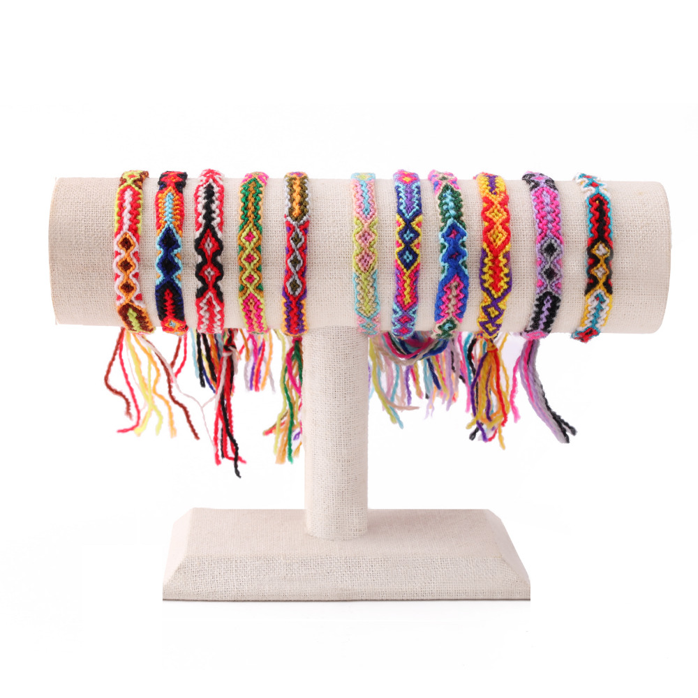 KELITCH 10pcs NEW Bohemia Tassels Friendship Bracelets Unisex Handmade Wrap Bracelets Bangles Candy Wide Strand Bracelets 2