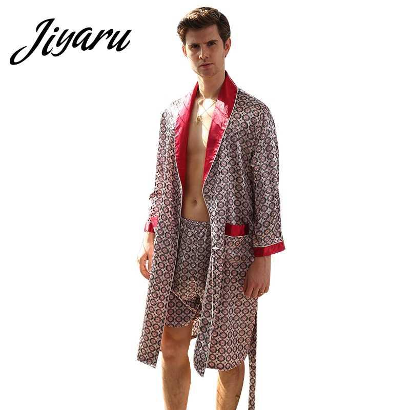 7e2ed54aae463c5 Осень Для мужчин мальчиков домашние халаты Мужской печатных домашние халаты  Мужской, с длинными рукавами мягкие