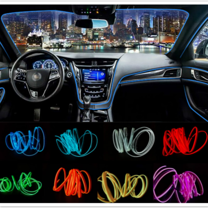 JURUS 5m Auto Car lights 12V El Wire Rope Tube Line Flexible Neon Light Glow Salon Flat Led Strip Pathway Lighting free Shipping
