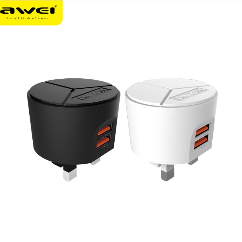 AWEI UK standard charger travel dual usb universal quick charging head for huawei xiaomi oppo vivo iphone ipad