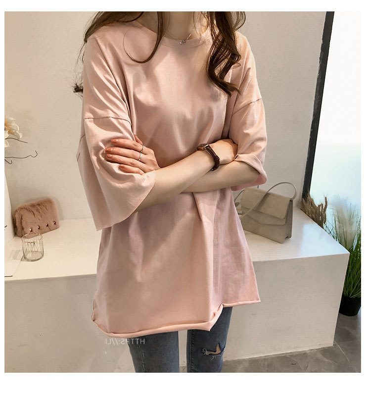 Candy Color Short Sleeve Loose T-Shirts Girls Summer 19 New Cool O-Neck Boyfriend Student Women T-Shirt Lady Tops Plus Size 29