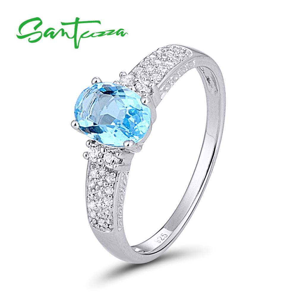 Silver Rings for Women Engagement Wedding Ring Oval Sky Blue and White Cubic Zirconia Pure 925 Sterling Silver Fashion Jewelry