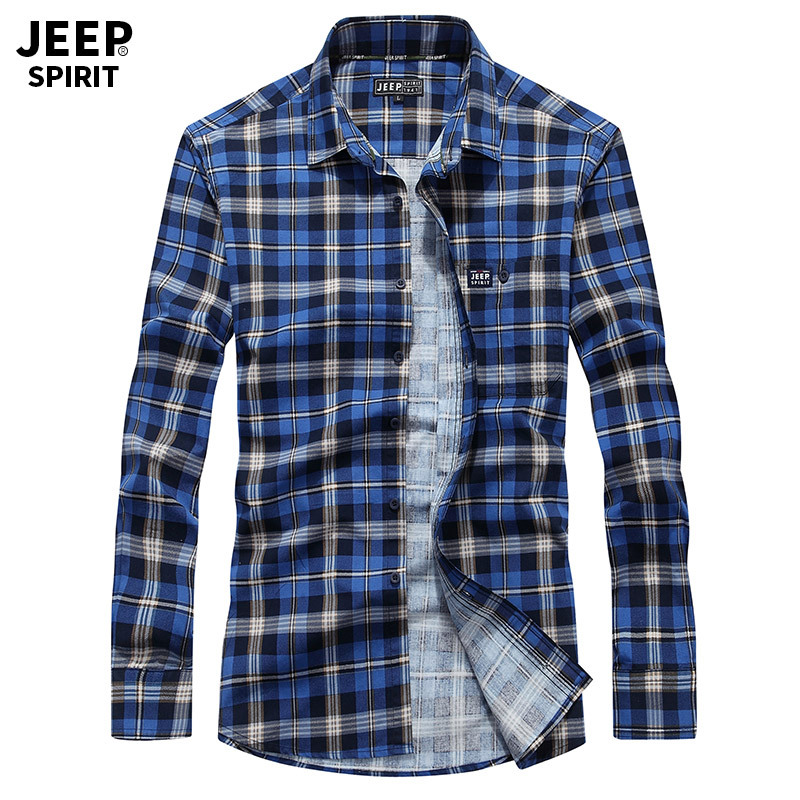 JEEP SPIRIT Spring Autumn Plaid Shirt Men Long Sleeve Turn-down Collar 100%Cotton Breathable Mens Shirts Plus Size 4XL Top Shirt