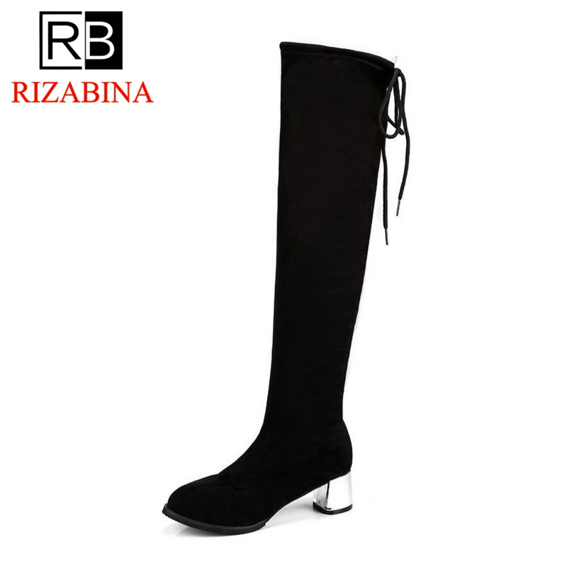 RizaBina 4 Colors Woman High Heel Boots Round Toe Mixed Color Print Over Knee Boots Elegant Fashion Boots Footwear Size 35-39