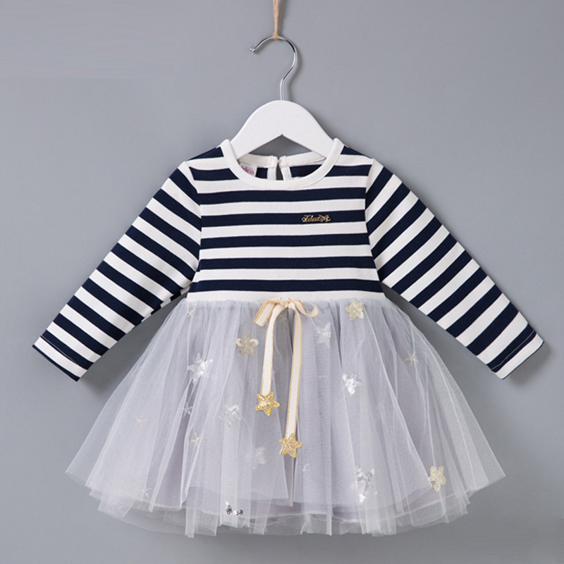 Girls Dresses Kids Stars Princess Dress For Girls 2018 Winter Spring Patchwork Costumes Baby Casual Children Long Sleeve Clothes girls dresses winter 2017 brand children dress princess costumechild dog cat house print pattern kids dresses for girls clothes