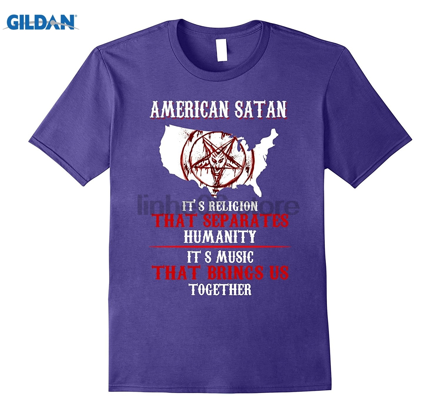GILDAN American Satan T-shirt USA Map Hot Womens T-shirt