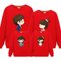 Family Matching Clothes Print Couple T Shirts Autumn Father Son Mother Daughter Kids Toddler Baby Dad Boys Mom Girls Outfits