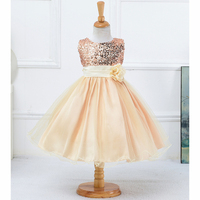 2016 New Fashion Dress For Girl Princess Party Dress Champagne Red Green Beige Dress For 3