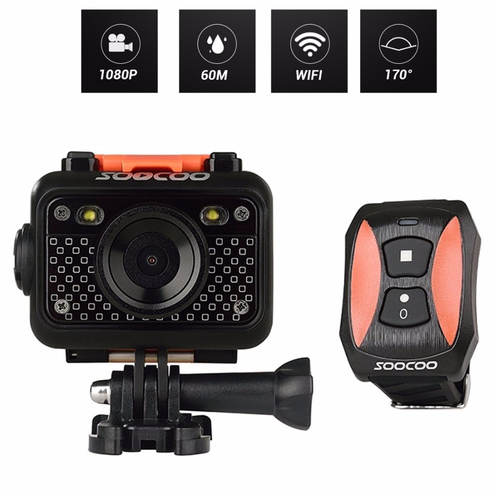 SOOCOO S60 HD 1080P WiFi Sports Action Camera 170 Degrees Wide Angle Lens 60m Waterproof 2