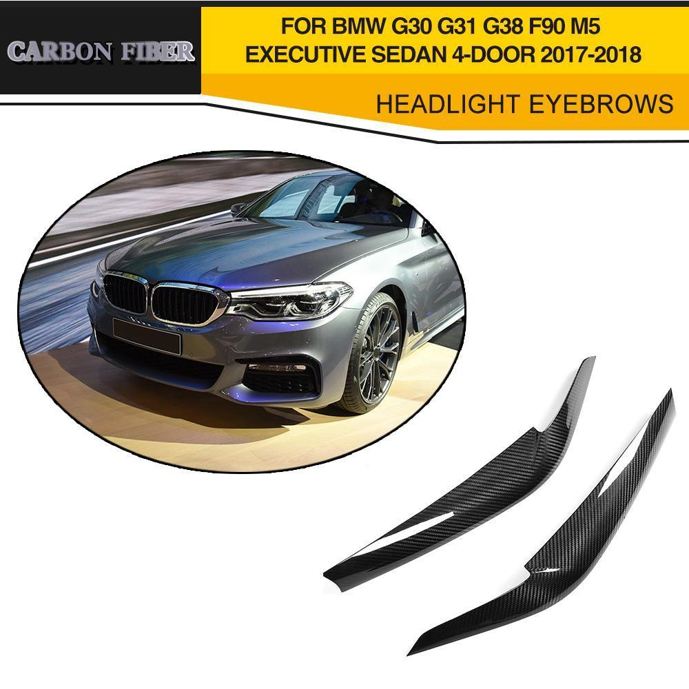 Dry Carbon Fiber Front Headlight Covers Eyelids eyebrows for BMW G30 G31 G38 F90 M5 Executive Sedan 4 Door 2017 2018 Black FRP