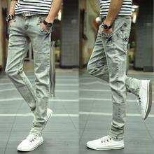High Quality 2016 Indoor Designer Men's Trousers Men Jeans Button Light Grey Thin Male Straight Jeans Trousers Free Shipping