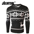 Jolintsai 2017 Autumn/Winter Men's Sweater With Deer Animal Sweater Christmas Day Gift Pullover Men Warm Casual Knitted Sweater