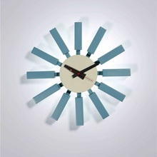 Home Decor/Designer blue block wall clock-silence/quartz watch/wholesale clock garden/hot/free shipping