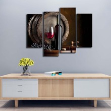 4 Panels Unframed Wall Art Pictures Wine Fruit Glass Barrel Canvas Print Modern Food Posters No Frames For Kitchen Decor