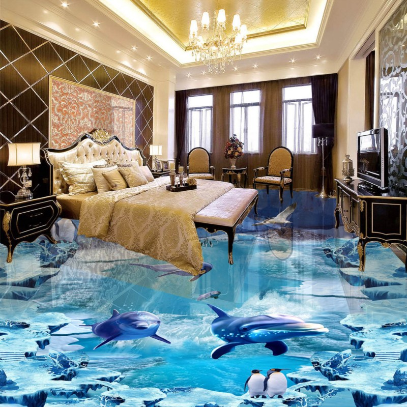ФОТО Free Shipping Underwater world snow ice outdoor 3D ground painting non-slip living room bedroom bathroom flooring mural