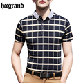HEE GRAND 2017 Business Men Plaid Short Sleeve Fashion O-Neck High Quality Cotton Blend Male Polos S-2XL MTP417