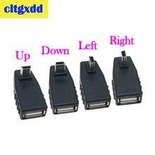Cltgxdd USB 미니 V3 USB 남성 90도 직각 왼쪽 각도 OTG 어댑터 자동차 AUX 태블릿 블랙 커넥터