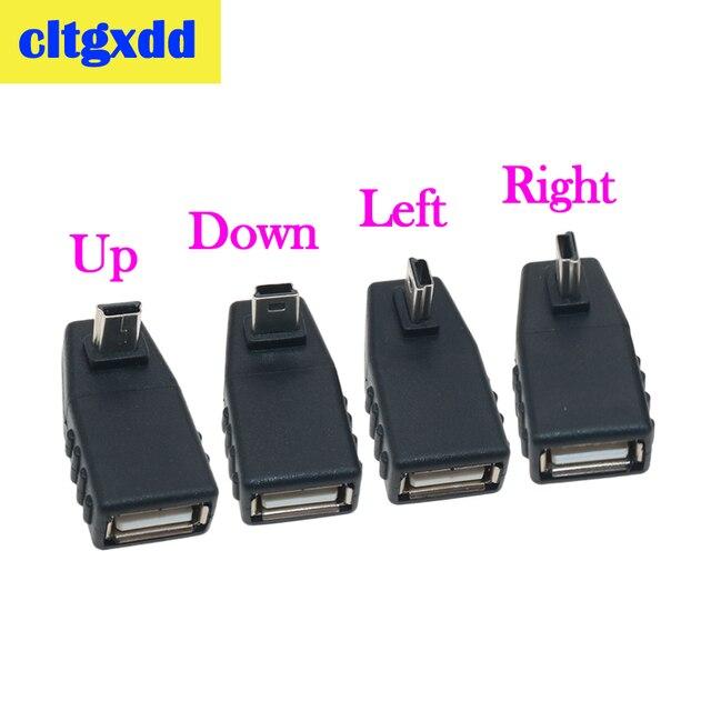 Cltgxdd USB Weiblichen zu Mini V3 USB Männlichen 90 Grad Nach Unten rechts Winkel Links Winkel UP OTG Adapter für Auto AUX Tablet Schwarz Stecker