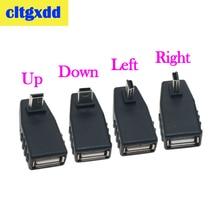 Cltgxdd adaptador USB hembra a Mini V3, macho, 90 grados, ángulo recto, ángulo izquierdo, adaptador OTG para coche, AUX, tableta, conector negro