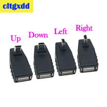 cltgxdd USB Female to Mini V3 USB Male 90 Degree Down right Angle Left Angle UP OTG Adapter for Car AUX Tablet Black Connector цена и фото