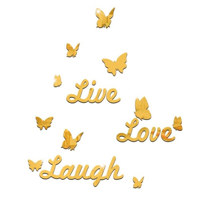 Kreative 3d Spiegelfläche Wandaufkleber Diy Englisch Brief Live Love