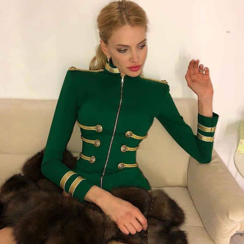 Ocstrade Femmes Automne Mode 2019 Fête De Noël De Haute Qualité Vert Plus La Taille Élégante Manches Longues Bandage Veste Moulante - 2