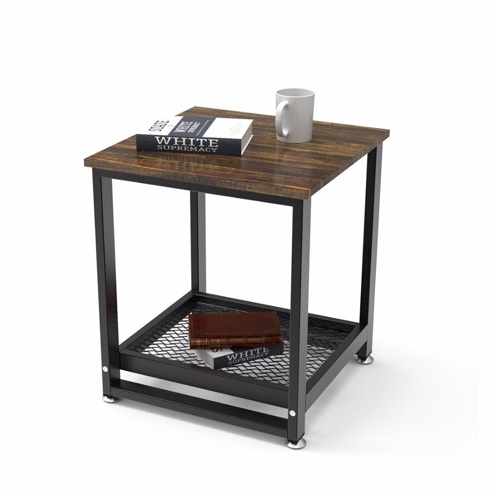 Dewel Table d'appoint salon Vintage canapé Table d'appoint avec étagère de rangement Table de nuit pour chambre 17.7 en Dx19.68 en H