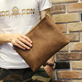 Brand high quality pu leather brown Men crazy horse fashion business male Zipper Day clutches  IPAD document bag envelope