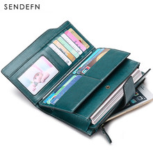 SENDEFN Women Female Long Vintage Lady Clutch Women Zipper Purse Leather  Money Bag Multifunction Portefeuille Femme. 4 Colors Available 546a1a6eb497